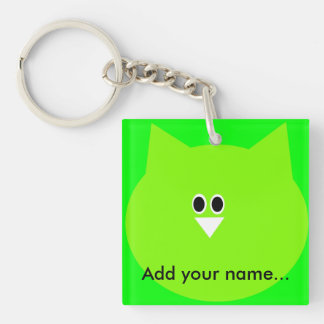 Green owl image add your name key-ring Single-Sided square acrylic keychain