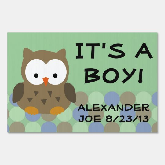 Green Owl, It's a Boy Baby Yard Sign