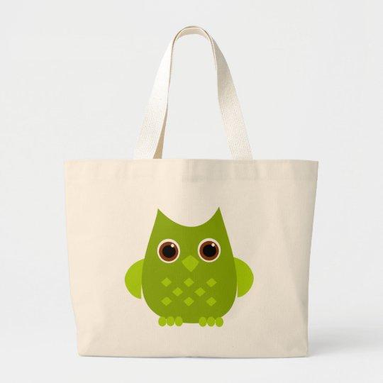 Green Owl Large Tote Bag