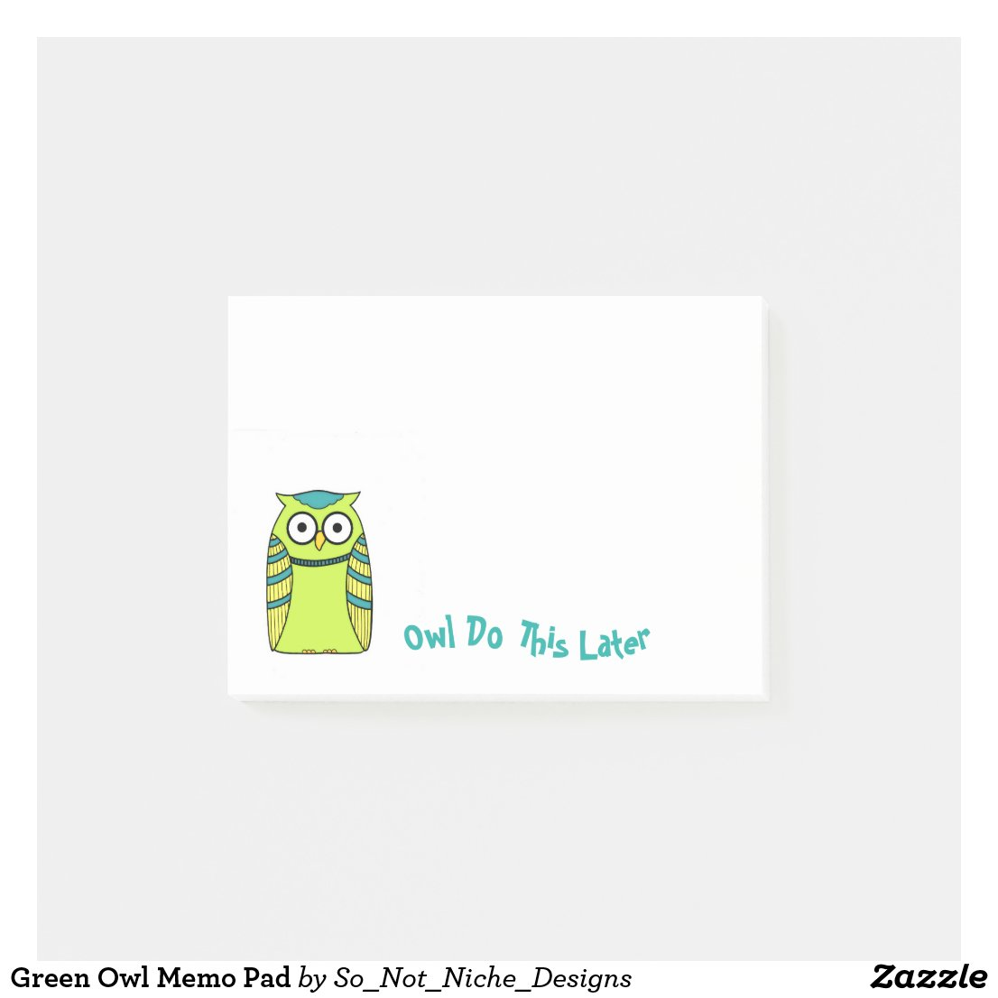 Green Owl Memo Pad Post-it Notes