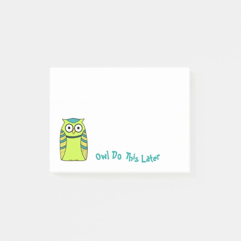Green Owl Memo Pad Post-it Notes