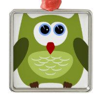 Green owl metal ornament