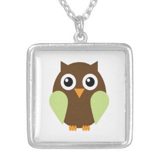 Green Owl Square Pendant Necklace