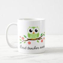 Green owl on branch best teacher custom text coffee mug