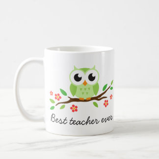 Green owl on branch best teacher custom text coffee mug