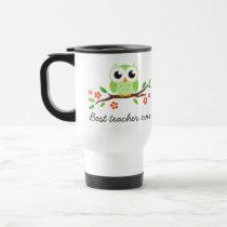 Green owl on floral branch best teacher ever travel mug