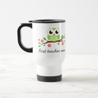 Green owl on floral branch best teacher ever travel mug