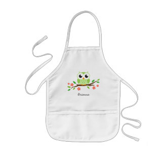 Green owl on flowering branch personalized name kids' apron