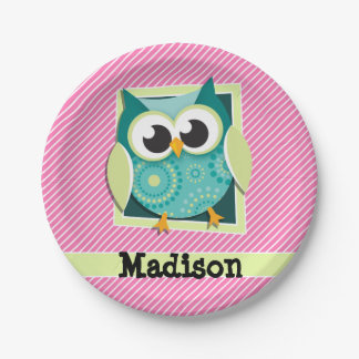 Green Owl on Pink & White Stripes 7 Inch Paper Plate