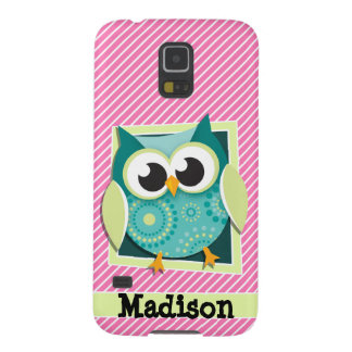 Green Owl on Pink & White Stripes Case For Galaxy S5