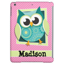 Green Owl on Pink & White Stripes Case For iPad Air
