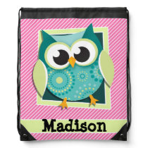 Green Owl on Pink & White Stripes Drawstring Bag