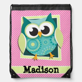 Green Owl on Pink & White Stripes Drawstring Bag