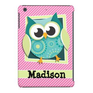 Green Owl on Pink & White Stripes iPad Mini Cases