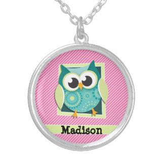 Green Owl on Pink & White Stripes Round Pendant Necklace