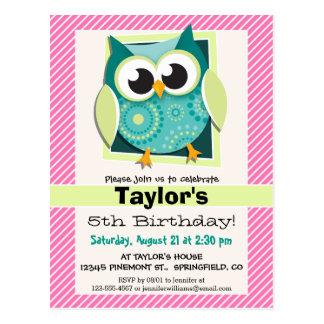 Green Owl on Pink & White Stripes Postcard