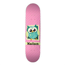 Green Owl on Pink & White Stripes Skateboard