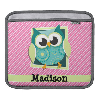 Green Owl on Pink & White Stripes Sleeve For iPads