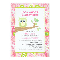 Green Owl on Tree Branch Baby Shower Invitation