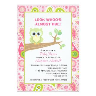 Green Owl on Tree Branch Baby Shower Invitation