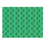 Green owl pattern post cards