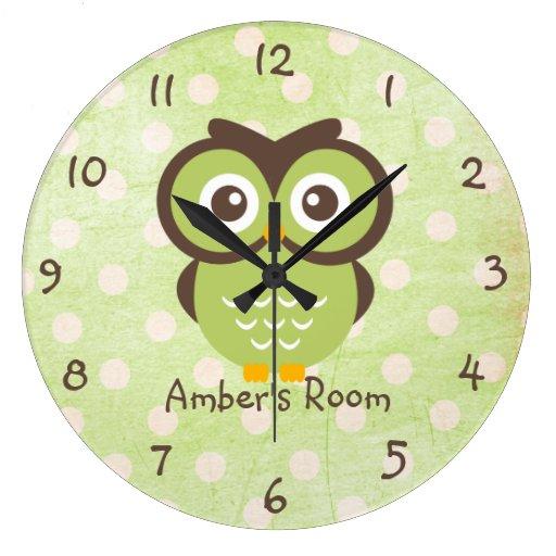 Green Owl Personalized Bedroom Wallclock