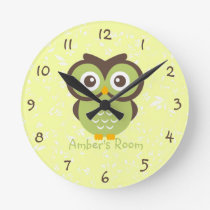 Green Owl Personalized Bedroom Round Clock
