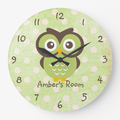 Green Owl Personalized Bedroom Wallclock