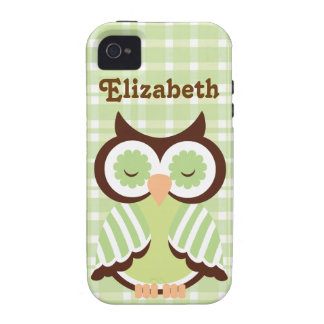 Green Owl Personalized Iphone 4 Case