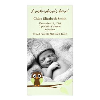 Green Owl Photo Birth Announcements