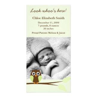 Green Owl Photo Birth Announcements