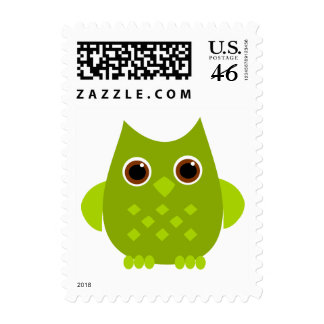 Green Owl Postage Stamp