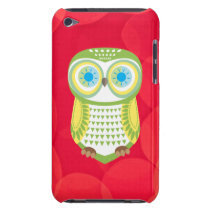 Green Owl Red Background iPod Touch Case