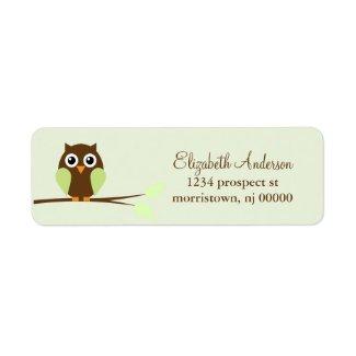 Green Owl Return Address Labels label