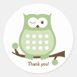 GREEN OWL Round Favor Sticker | Envelope Seal