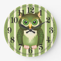 Green Owl Round (Large) Wall Clock