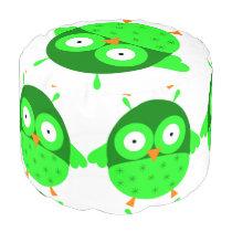 Green Owl Round Pouf