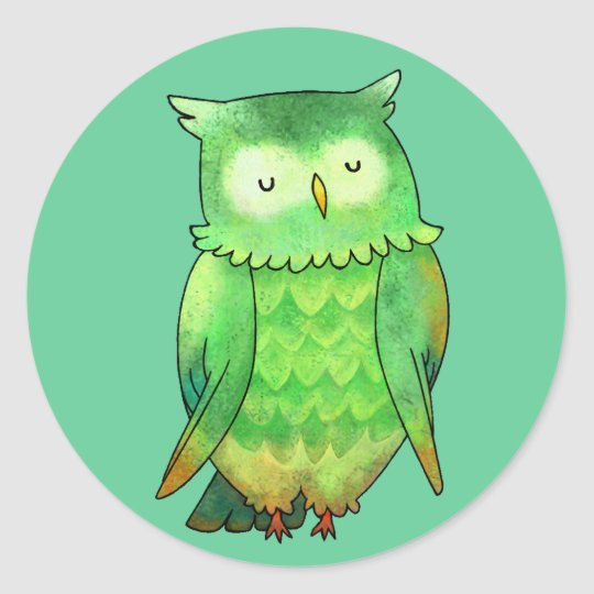 Green Owl Small Stickers