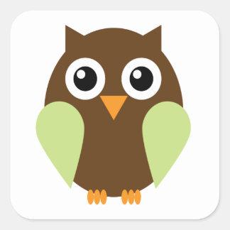 Green Owl Square Sticker