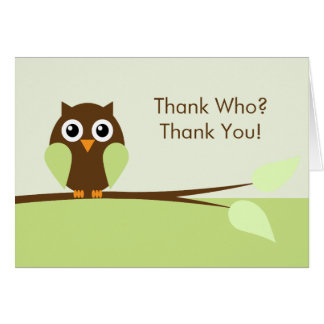 Green Owl Thank You Cards