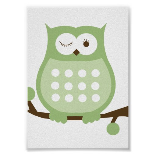 GREEN OWL Wall Art Kids Decor Print