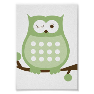 GREEN OWL Wall Art Kids Decor Print