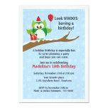 "Green Owl Winter Birthday Invitation 5"" X 7"" Invitation Card"