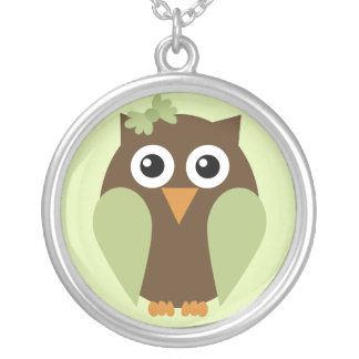 Green Owl With a Bow Necklace
