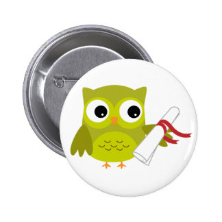 Green Owl with Diploma Graduation Button
