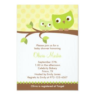 Green Owls Baby Shower Invitations