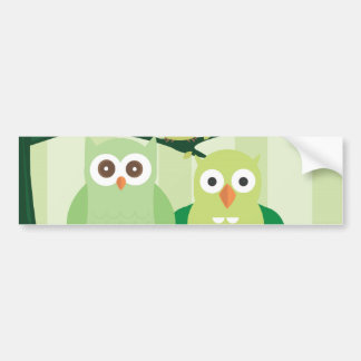 Green Owls Car Bumper Sticker