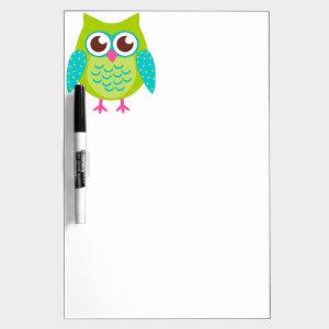 Cute Green Owl Dry Erase Board