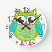 Green Owls Gift Round Clock