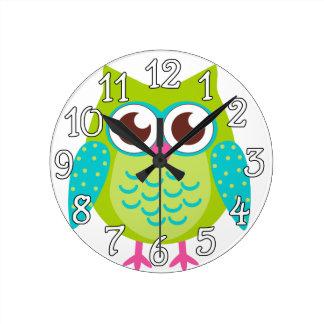 Green Owls Gift Round Clock